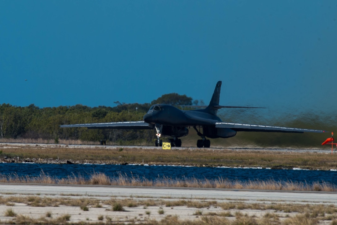 A B-1 Lancer waits for flight clearance at the end of the runway on Boca Chica Naval Air Station, Key West Fla., March 22, 2017. Airmen from the 489th Bomb Group and the 7th Bomb Wing supported the Drug Enforcement Agency, FBI, Coast Guard and 15 other government agencies in the fight against illicit drugs. (U.S. Air Force photo by Staff Sgt. Jason McCasland/released)