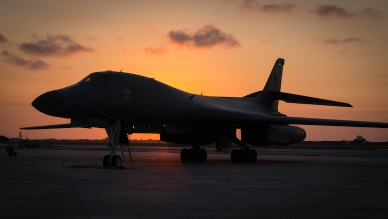 A B-1 Lancer waits for its aircrew at Boca Chica Field at Naval Air Station, Key West Fla., flightline for its role in the Joint Interagency Task Force South mission March 23, 2017. Airmen from the 489th Bombardment Group and the 7th Bomb Wing supported the Drug Enforcement Agency, FBI, Coast Guard and other government agencies in the fight against illicit drugs. (U.S. Air Force photo by Staff Sgt. Jason McCasland/released)