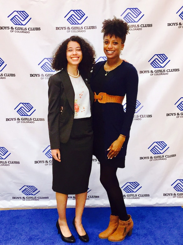 Danielle Wright, Colorado Military Youth of the Year, poses with Autumn Washington, 460th Force Support Squadron child and youth program specialist, March 28, 2017, at the National Youth of the Year Celebration in Denver. Youth of the Year is a national Boys & Girls Club program, and was established to recognize and honor the nation's most inspirational teens. (Courtesy photo)