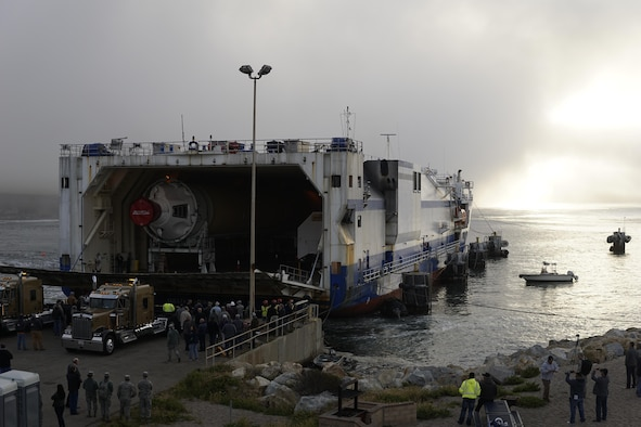 A cargo ship, the Delta Mariner, prepares to offload rocket components at Vandenberg Air Force Base's dock, April 6, 2017, Vandenberg Air Force Base, Calif. The Delta Mariner made its way from a production facility in Decatur, Ala., to deliver a United Launch Alliance Delta IV rocket, scheduled to launch in 2017. (U.S. Air Force photo by Senior Airman Ian Dudley/Released)
