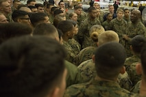 Sgt. Maj. Ronald L. Green, the 18th sergeant major of the Marine Corps, speaks with Marines and Sailors of the 31st Marine Expeditionary Unit aboard the USS Bonhomme Richard (LHD 6), in the Pacific Ocean, April 2, 2017. Green visited the ship to provide guidance regarding the future of the Marine Corps during the 31st MEU 17.1 Spring Patrol. As the Marine Corps' only continuously forward deployed unit, the 31st MEU's air-ground-logistics team provides a flexible force, ready to perform a wide range of military operations, from limited combat to humanitarian assistance operations, throughout the Asia-Pacific region. (U.S. Marine Corps photo by Gunnery Sergeant Ernest V. Hagewood)