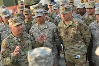 Brig. Gen. Alberto C. Rosende, commanding general for the 1st Mission Support Command, speaks with Beyond the Horizon Belize rotation Soldiers about the importance of the humanitarian exercise in building partnerships with other U.S. Military services and the country of Belize on April 5.