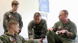 Sgt. 1st Class Midsru Miyazaki, center, coordinates with Marines assigned to Marine Medium Tiltrotor Squadron 204 during a pre-flight brief at Marine Corps Air Station New River, N.C., April 7, 2017. Miyazaki has been training to become the first Japanese MV-22 Osprey crew chief. VMMT-204's mission is to provide training to Osprey pilots, crew chiefs and units in the use and maintenance of the MV-22 Osprey tiltrotor aircraft. VMMT-204 is assigned to Marine Aircraft Group 26, 2nd Marine Aircraft Wing.