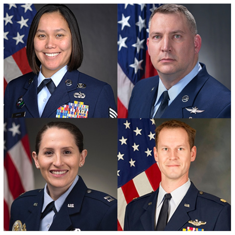 From left to right: Tech. Sgt. Khrysallis Santos, Senior Master Sgt. Wallace Wood, Capt. Oriana Mastro, and Maj. Wesley Skenfield
