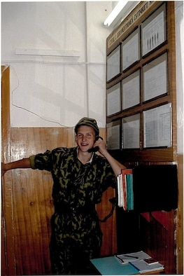 Aliaksei Krasouski makes a call during his time serving in the Belarussian Air Force August 2004. Krasouski was drafted into the Belarussian Air Force when he lived in Minsk, Belarus. (Courtesy Photo)