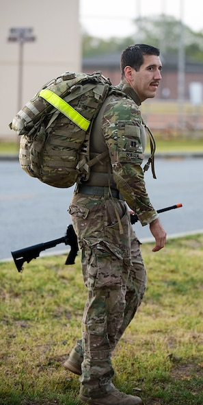 The Robins Air Force Base Fitness Center sponsored a 10-Mile Ruck Run on March 24, 2017. Today's ruck run was one of many military-centric events the Fitness Center offers. Participants wore ruck sacks weighing at least 35 pounds while trying to manage a 10-mile cross country course as fast as possible.  (U.S. Air Force photos/RAYMOND CRAYTON, JR.)