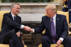 President Donald J. Trump and NATO Secretary General Jens Stoltenberg shake hands during their meeting at the White House, April 12, 2017. NATO photo