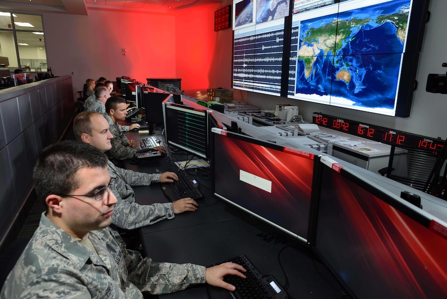 Airmen assigned to the Technical Support Squadron, Air Force Technical Applications Center, Patrick AFB, Fla., monitor seismic activity throughout the world in direct support of AFTAC's nuclear treaty monitoring mission.  The center maintains a global network of nuclear event detection sensors called the U.S. Atomic Energy Detection System – the largest sensor network in the U.S. Air Force.   (U.S. Air Force photo by William B. Belcher)