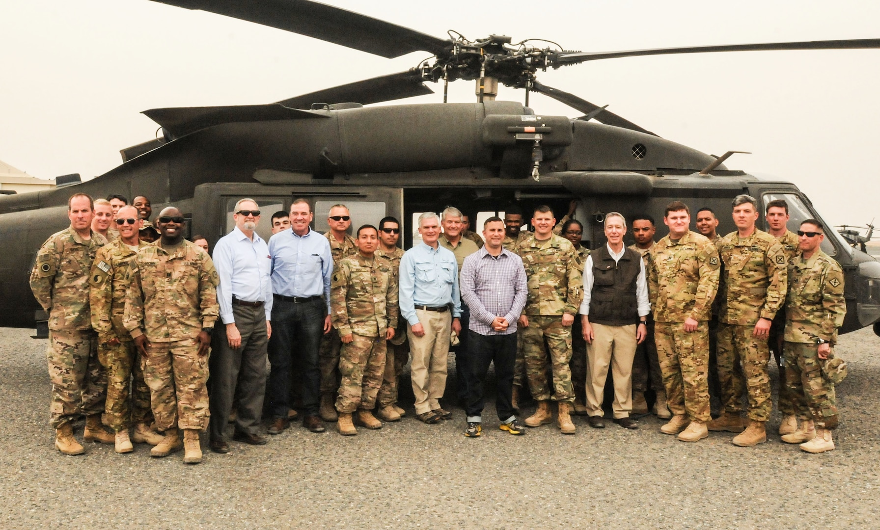 Congressmen from three states visited Soldiers from their congressional districts to learn about the ongoing fight against ISIS. Brig. Gen. John Epperly, the Deputy Commander of the 29th Infantry Division, Task Force Spartan, escorted the delegation as they received a briefing on Operations Spartan Shield and Inherent Resolve. The U.S. Ambassador to Kuwait, Mr. Lawrence Silverman, also participated in the day's events. The representatives visited Camp Arifjan and Camp Buerhing, Kuwait on April 10, 2017. (U.S. Army Photo by Master Sergeant Sean McCollum, 29th Infantry Division Public Affairs)