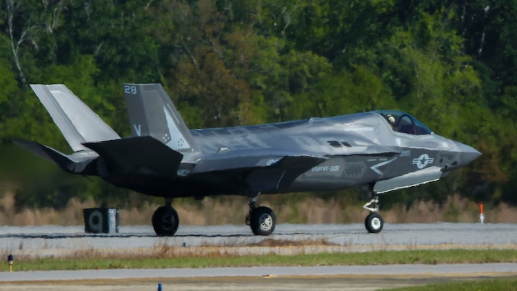 An F-35B Lightning II aircraft piloted by Maj. Jesse Peppers takes off from Marine Corps Air Station Beaufort, April 11. Peppers and the other F-35B Lightning II pilot instructors are training with Joint Direct Attack Munitions. After the instructors are proficient with JDAM they will add the ordnance to the syllabus for the F-35B training pilot program. The aircraft is with Marine Fighter Attack Training Squadron 501, Marine Aircraft