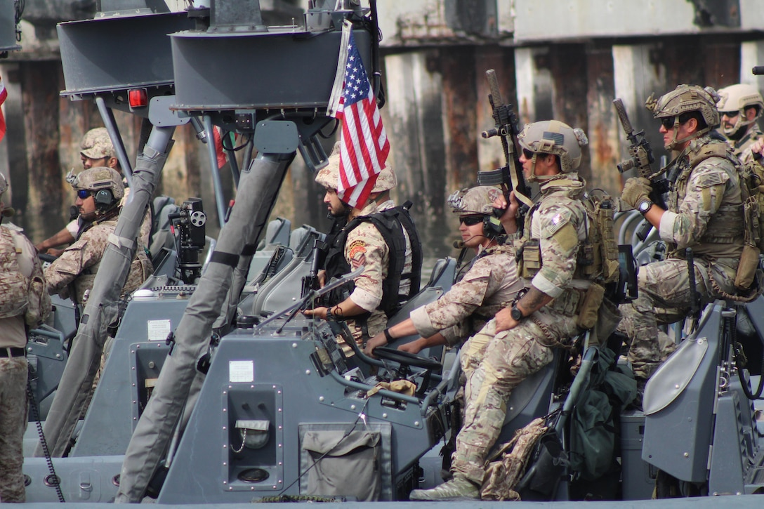 U.S. and Gulf Cooperation Council special operations forces conduct the culminating field-training event of exercise Eagle Resolve 2017, April 6, in Kuwait's Shuwaikh Port. Eagle Resolve is the premier multinational exercise in the Gulf region.