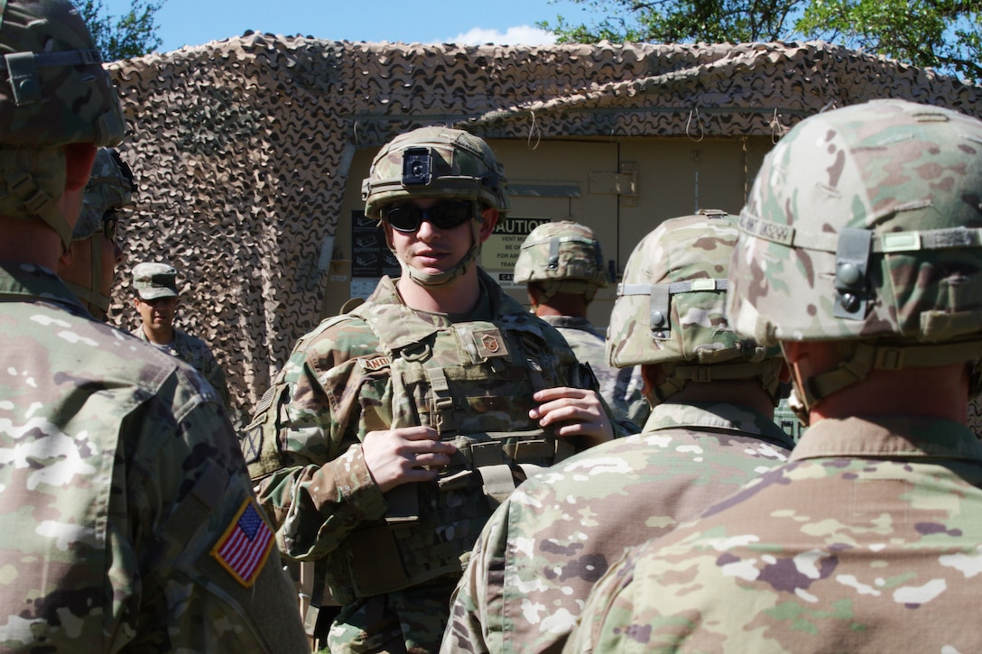 U.S. Airmen and Soldiers participate in Warfighter Exercise 17-4 at Fort Hood, Texas, April 5, 2017. WFX 17-4 prepared Airmen for an upcoming deployment to Combined Joint Task Force-Operation Inherent Resolve headquarters. (U.S. Army photo by Staff Sgt. Matthew Alford)