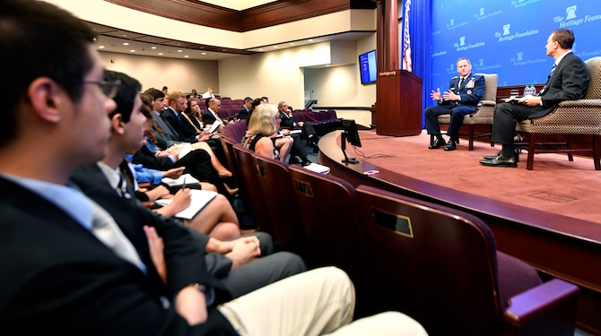 Participants listen to the Air Force Chief of Staff Gen. David L. Goldfein's discussion at the Heritage Foundation in Washington, D.C., April 12, 2017. The CSAF discussed readiness, national security and challenges for the Air Force warfighter. (U.S. Air Force photo/Wayne A. Clark)