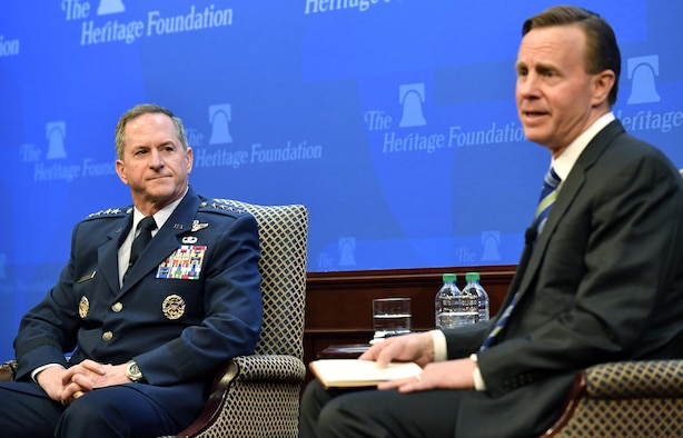 Air Force Chief of Staff Gen. David L. Goldfein speaks at the Heritage Foundation in Washington, D.C., April 12, 2017. The CSAF discussed readiness, national security and challenges for the Air Force warfighter. (U.S. Air Force photo/Wayne A. Clark)