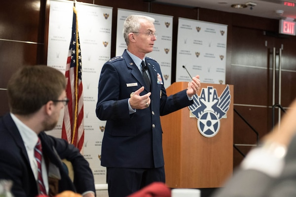 Air Force Gen. Paul J. Selva, vice chairman of the Joint Chiefs of Staff, speaks during an Air Force Association Breakfast in Arlington, Va., April 13, 2017. Selva spoke about the need for a defense budget, Syria, and innovation within the Department of Defense. DoD photo by Army Sgt. James K. McCann