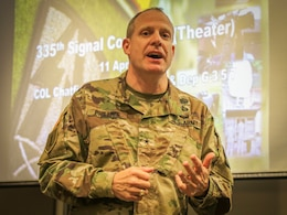 Brig. Gen. John H. Phillips, deputy commanding general of operations for the 335th Signal Command (Theater) discusses Army Reserve cyber capabilities with approximately 50 graduate students and Army Reserve Officer Training Corps cadets at the Scheller College of Business at the Georgia Institute of Technology in downtown Atlanta, Georgia, April 11.   (Official U.S. Army Reserve Photo by Sgt. 1st Class Brent C. Powell)