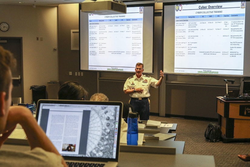 """Col. James """"Jim"""" M. Chatfield, cyber director and deputy G-3 of operations for the 335th Signal Command (Theater) speaks to approximately 50 graduate students and Army Reserve Officer Training Corps cadets at the Scheller College of Business at the Georgia Institute of Technology in downtown Atlanta, Georgia April 11.  Chatfield spent about 90 minutes discussing Army cyber capabilities and the future of cyber operations.  (Official U.S. Army Reserve Photo by Sgt. 1st Class Brent C. Powell)"""