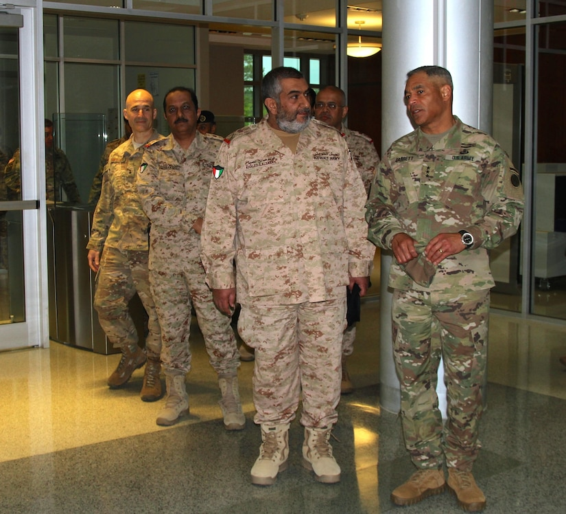 Lt. Gen. Michael Garrett, U.S. Army Central, commanding general, speaks with Maj. Gen. Khaled Saleh Al-Sabah, the Kuwait land forces commander, during his visit to USARCENT headquarters at Shaw Air Force Base, S.C., April 5, 2017. The visit showed the commitment of both the Kuwaitis and USARCENT as they continue to build partnership. (U.S. Army photo by Staff Sgt. Jared Crain)