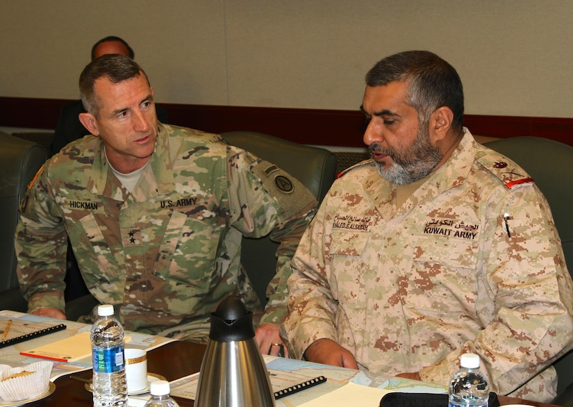 Maj. Gen. William B. Hickman, deputy commanding general of U.S. Army Central, and Maj. Gen. Khaled Saleh Al-Sabah, the Kuwait land forces commander discuss the way forward as they continue to build an enduring partnership. (U.S. Army photo by Staff Sgt. Jared Crain)