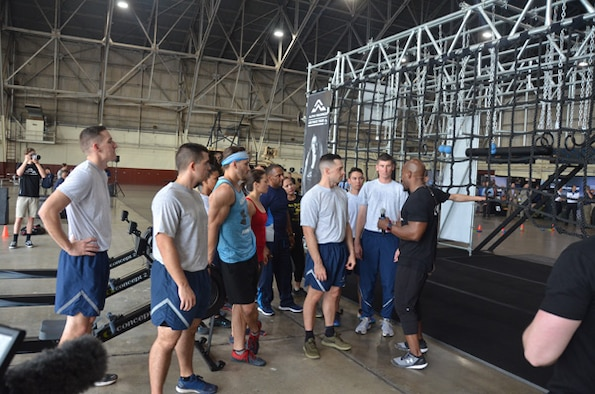 Alpha Warrior strength and conditioning coach Bennie Wylie Jr. gives instructions on how to use the Alpha Warrior Battle Rig during a presentation at Joint Base San Antonio-Lackland April 11. (U.S. Air Force photo/Steve Warns)
