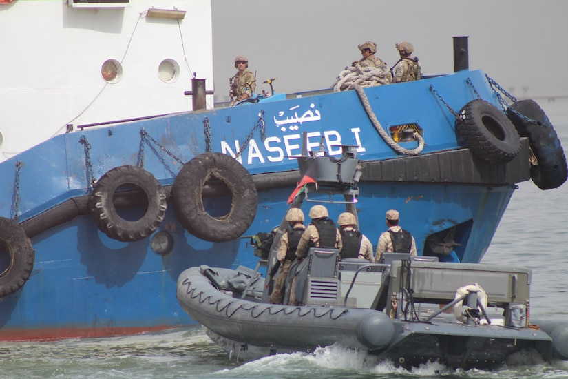 U.S. and Gulf Cooperation Council forces seize a boat taken by terrorists during the culminating training event of exercise Eagle Resolve, April 6, at Kuwait's Shuwaikh Port. Eagle Resolve is the premier multinational exercise in the Gulf region.