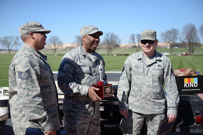 The non-commission officer team won the third annual Offutt Top Chef Grill Masters competition at Offutt Air Force Base, Neb., April 6, 2017 held on the parade field. Four teams competed against one another by creating three dishes to be judged on taste, presentation and creativity. (U.S. Air Force photo by Zachary Hada)
