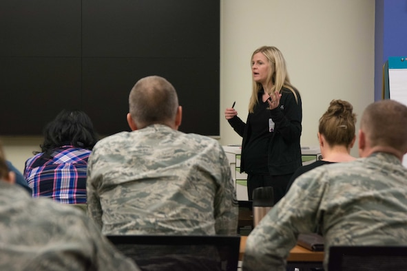A registered nurse from Mosaic Life Care teaches servicemembers about victim advocacy in St. Joseph, Mo., April 12, 2017. The training is an annual requirement for servicemembers who volunteer to be victim advocates. Airmen from Whiteman Air Force Base, Kansas Air National Guard's 190th Air Refueling Wing, Missouri ANG's 139th Airlift Wing and 131st Bomb Wing, and sailors from the Naval Operational Support Center in Kansas City attended the training. (U.S. Air National Guard photo by Master Sgt. Michael Crane)