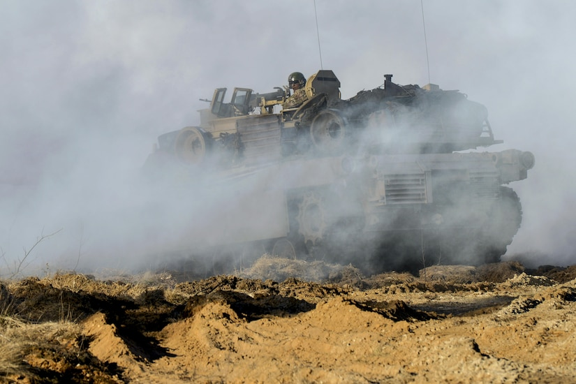 Estonian and U.S. soldiers train during a combat exercise at the Estonian Central Training Area near Tapa, Estonia, April 6, 2017. The U.S. soldiers, assigned to Company C, 1st Battalion, 68th Armor Regiment, participated to boost the capabilities of the Estonian forces under the NATO-led Operation Atlantic Resolve. Army photo by Jason Johnston