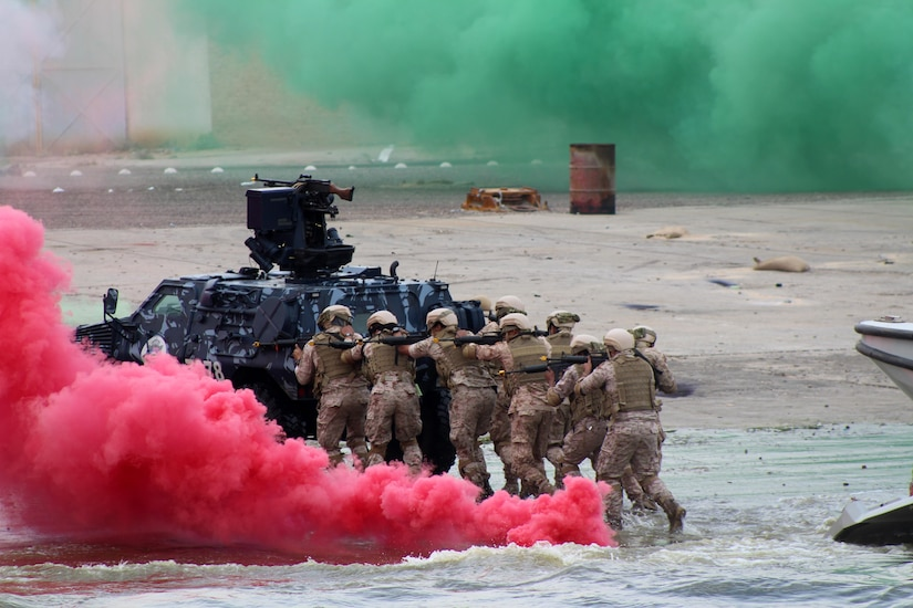 U.S. and Gulf Cooperation Council forces conduct final field-training event of exercise Eagle Resolve 2017, which focuses on regional challenges associated with asymmetric/unconventional warfare, in Kuwait's Shuwaikh Port, April 6, 2017 (U.S. Army/Frank O'Brien)