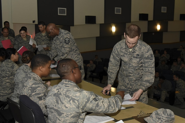 U.S. Air Force Airmen from Osan Air Base, Republic of Korea, check in at the base theater in preparation for their participation in the Max Thunder exercise at Kunsan Air Base, Republic of Korea, April 12, 2017. U.S. Air Force, Army, Marine Corps and Navy personnel and aircraft will train with the Republic of Korea Air Forces in the annual, bilateral training Exercise MAX THUNDER 17, which will be hosted at Kunsan Air Base, Republic of Korea, April 17-28, 2017. (U.S. Air Force Photo by Senior Airman Michael Hunsaker/Released)