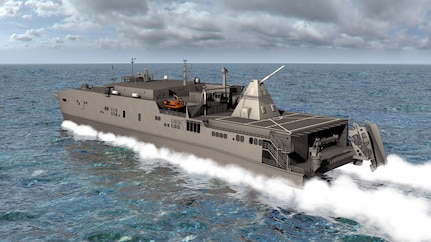 An artist rendering shows the Office of Naval Research-funded electromagnetic railgun installed aboard the joint high-speed vessel USNS Millinocket (JHSV 3). The railgun is a long-range weapon that launches projectiles using electricity instead of chemical propellants and is currently undergoing testing at Naval Sea Systems Command, Dahlgren Division.