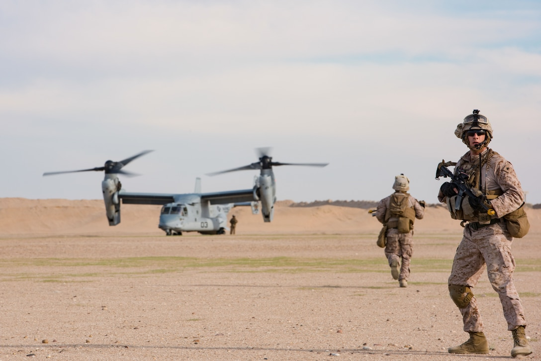 U.S. Marines assigned to the 1st Battalion, 7th Marine Regiment, Special Purpose Marine Air-Ground Task Force-Crisis Response-Central Command return to an MV-22 assigned to Marine Medium Tiltrotor Squadron 165 during a mission exercising the tactical recovery of aircraft and personnel at an undisclosed location in Southwest Asia, April 5, 2017. The TRAP capability provided by the Marines enables pilots supporting Operation Inherent Resolve to fly with the confidence of knowing rescue personnel are on standby. (U.S. Air Force photo/Master Sgt. Benjamin Wilson)(Released)