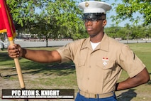 Private First Class Keon S. Knight graduated Marine Corps recruit training Apr. 14, 2017, aboard Marine Corps Recruit Depot Parris Island, South Carolina. Knight is the Honor Graduate of platoon 2028. Knight was recruited by Staff Sgt. Todd M. Gibbons from Recruiting Substation Fort Lauderdale. (U.S. Marine Corps photo by Lance Cpl. Jack A. E. Rigsby/Released)