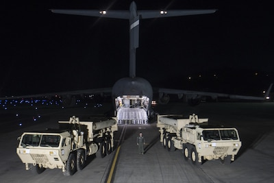 "U.S. Forces Korea continued its progress in fulfilling the Republic of Korea - U.S. Alliance decision to install a Terminal High Altitude Area Defense (THAAD) on the Korean Peninsula as the first elements of the THAAD system arrived in the ROK. ""The timely deployment of the THAAD system by U.S. Pacific Command and the Secretary of Defense gives my command great confidence in the support we will receive when we ask for reinforcemet or advanced capabilities,"" said Gen. Vincent K. Brooks, U.S. Forces Korea commander. (Courtesy Photo)"