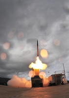 The Terminal High Altitude Area Defense, or THAAD, element gives the Ballistic Missile Defense System a globally transportable, rapidly deployable ability to intercept and destroy ballistic missiles inside or outside the atmosphere during their final, or terminal, phase of flight. Missile Defense Agency photo