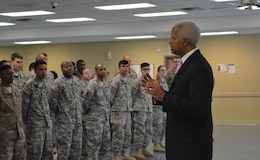 Rep. Hank Johnson speaks to members of the 642d Regional Support Group attending a cake cutting Ceremony, Decatur, Ga., Apr. 8, 2017.  The cake cutting ceremony was held to honor and celebrate the Army Reserve's 109th Birthday.