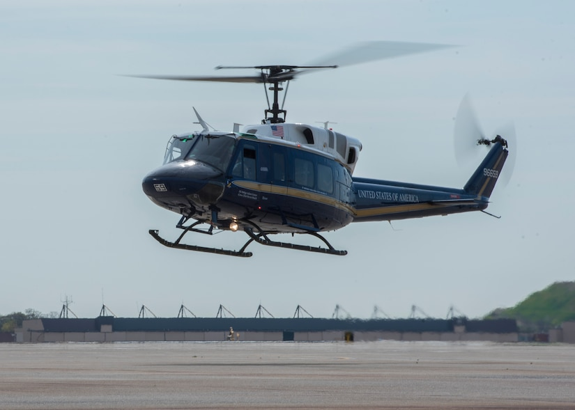 An UH-1N Iroquois lands at Joint Base Andrews, Md., April 13, 2017. The helicopters belong to the 1st Helicopter Squadron, which performed a medical evacuation of a downed pilot during the F-16 Fighting Falcon crash incident April 5. (U.S. Air Force photo by Senior Airman Jordyn Fetter)