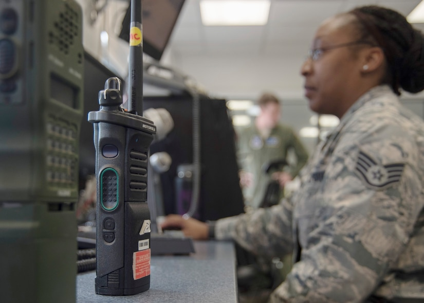 Staff Sgt. Chantal Campbell, 1st Helicopter Squadron mission controller, views information about helicopter flights at Joint Base Andrews, Md., April 13, 2017. Mission controllers are responsible for communicating with flight crews and relaying essential information to them. During the F-16 Fighting Falcon crash incident April 5, they directed two UH-1N Iroquois to the scene to medically evacuate the downed pilot. (U.S. Air Force photo by Senior Airman Jordyn Fetter)