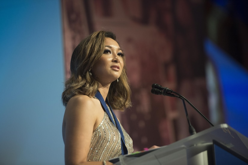 Jaclyn Mariano, surviving daughter of Air Force Master Sgt. Jude C. Mariano, delivers remarks after receiving the Senator Ted Stevens Leadership Award during the Tragedy Assistance Program for Survivors 2017 Honor Guard Gala in Washington, D.C., April 12, 2017. The TAPS leadership award recognizes an individual who has taken their experience and demonstrated outstanding leadership on behalf of other military survivors. DoD photo by Navy Petty Officer 2nd Class Dominique Pineiro