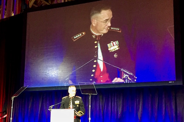 Marine Corps Gen. Joe Dunford, chairman of the Joint Chiefs of Staff, accepts the Eisenhower Award on behalf of the more than two million members of the Defense Department from the Business Executives for National Security in Washington, April 13, 2017. DoD photo by Jim Garamone