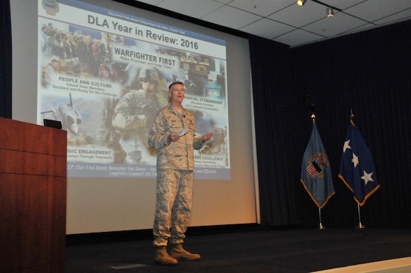 DLA Director Air Force Lt. Gen. Andy Busch discusses the agency's achievements and future challenges in his last Town Hall.