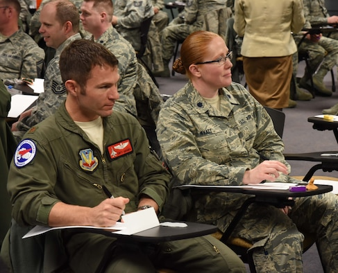 Members of the 142nd Fighter Wing, Oregon Air National Guard, take part in a focus group orchestrated by the Air Force Chief of Staff to help give feedback on various areas to promote best practices and identify improvements, Portland Air National Guard Base, Ore. April 1, 2017. (U.S. Air National Guard photo by Tech. Sgt. Aaron Perkins, 142nd Fighter Wing Public Affairs)