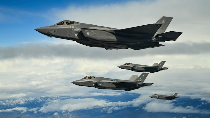 F-35A Lightning II fighter jets from the 388th Fighter Wing at Hill Air Force Base, Utah, fly in formation over the Utah Test and Training Range, March 30, 2017. Pentagon officials announced April 14, 2017, that the Air Force is deploying a small number of F-35A fighters to Europe for training. (U.S. Air Force photo/R. Nial Bradshaw)