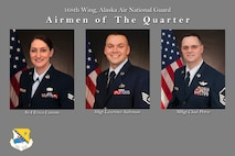 Quarterly award winners from the 168th Wing, Alaska Air National Guard - Senior Airman Erica Cassino, Staff Sgt. Lawrence Salzman, and Master Sgt. Chadwick Petrie. (U.S. Air National Guard photo illustration by Senior Master Sgt. Paul Mann/Released)