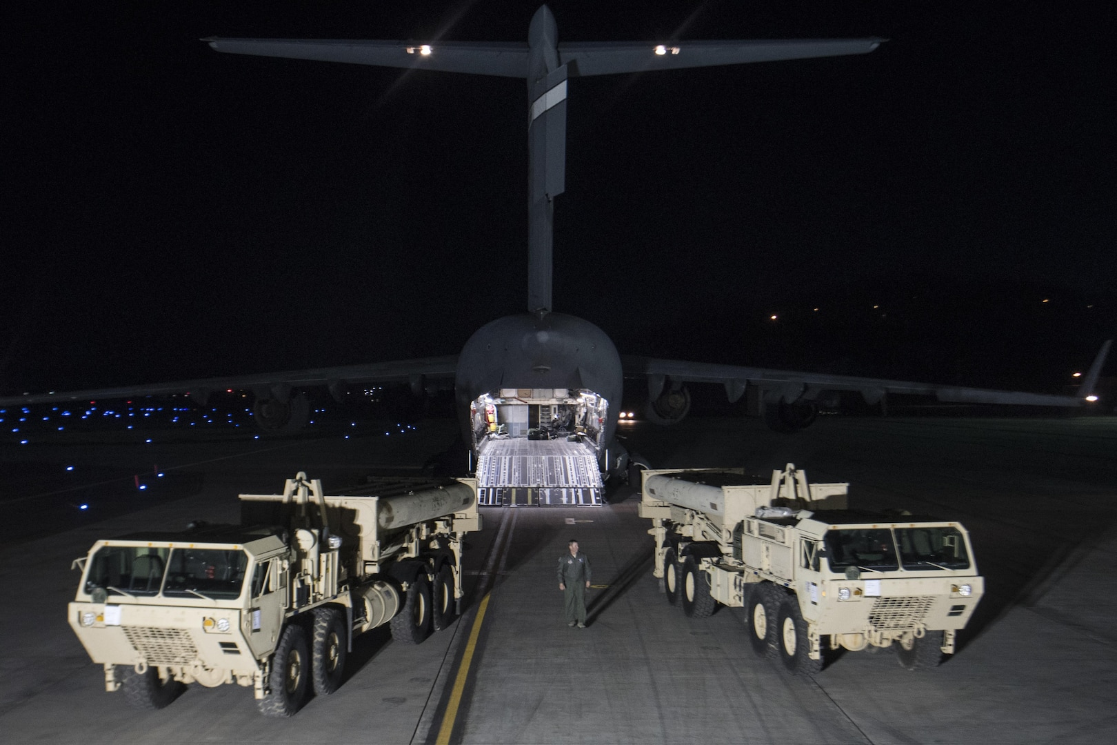 """U.S. Forces Korea continued its progress in fulfilling the South Korea-U.S. alliance decision to install a Terminal High Altitude Area Defense, or THAAD, on the Korean Peninsula as the first elements of the THAAD system arrived in South Korea, March 6, 2017. """"The timely deployment of the THAAD system by U.S. Pacific Command and the secretary of defense gives my command great confidence in the support we will receive when we ask for reinforcement or advanced capabilities,"""" said Army Gen. Vincent K. Brooks, U.S. Forces Korea commander."""