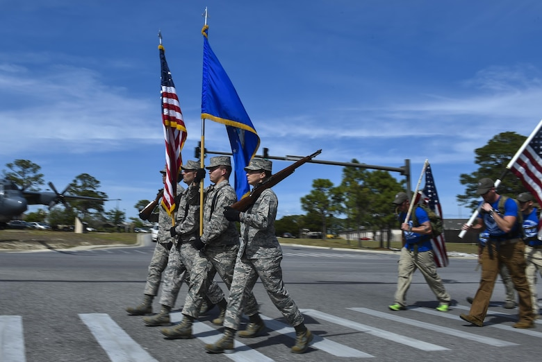 Air Commandos arrive at Hurlburt Field, Fla., after completing the 6th Annual Air Commando Ruck March April 14, 2017. The Airmen completed the final leg of a 450 miles from MacDill Air Force Base honoring fallen Air Force Special Operations Command members. This year's ruck march is dedicated to the Air Commandos assigned to the 27th Special Operations Wing at Cannon Air Force Base, New Mexico, who perished March 14 in a U-28 crash. (U.S. Air Force photo by Airman 1st Class Joseph Pick)