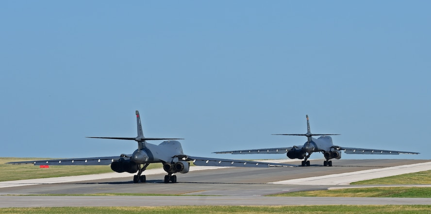 Two Ellsworth B-1s leave for Wright-Patterson Air Force Base, Ohio from Ellsworth Air Force Base, S.D., April 14, 2017.  The B-1s and their crews are on their way to participate in the 75th Anniversary of the Doolittle Tokyo Raid commemoration events. (U.S. Air Force photo by Senior Airman James L. Miller)