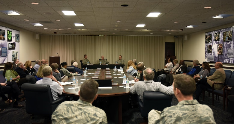 Thirty Air Mobility Command civic leaders learned how to impact the Rapid Global Mobility mission here during a tour April 10 to 12. During their trip they had breakfast with Airmen, a briefing about how AMC's four core capabilities are executed, a behind the scenes look at the 618th Air Operations Center, and aeromedical evacuation training demo by the 375th Aeromedical Evacuation Squadron at Scott Air Force Base, Illinois. (U.S. Air Force photo/ Staff Sgt. Stephenie Wade)