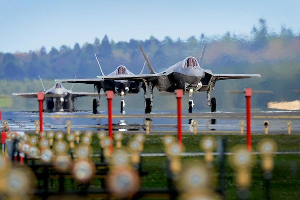 F-35A Lightning IIs from the 34th Fighter Squadron at Hill Air Force Base, Utah, land at Royal Air Force Lakenheath, England, April 15, 2017. The aircraft arrival marks the first F-35A fighter training deployment to the U.S. European Command area of responsibility or any overseas location as a flying training deployment. (U.S. Air Force photo/Tech. Sgt. Matthew Plew)