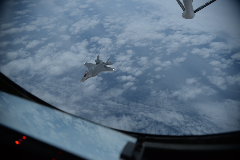 An F-35A Lightning II prepares to receive fuel from a 100th Air Refueling Wing KC-135 Stratotanker over the Atlantic Ocean April 15, 2017. The F-35As are conducting their first overseas deployment during which they will conduct flying training with NATO partners. (U.S. Air Force photo by Airman 1st Class Tenley Long)